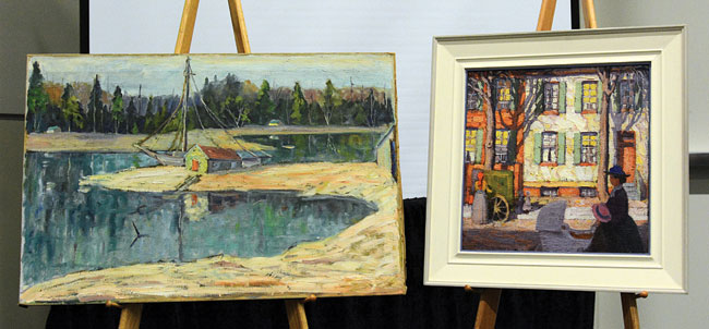Group of Seven artist Lawren Harris painted Hurdy Gurdy (right), owned by Vancouver art collector Tony Ma and valued at more than $1 million. Raman spectroscopy was used to try to determine whether Autumn Harbour (left) could be another of Harris' creations, painted during one of his many sketching trips into the Ontario wilderness.
