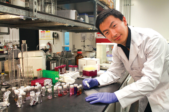 PhD student Sandy Liu is leading a team working on nanoparticles to improve the effectiveness of a medication that combats dry eye syndrome.