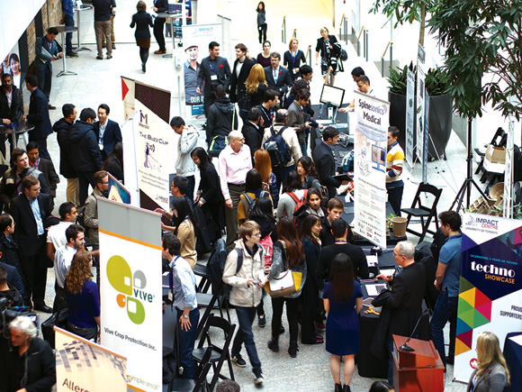 Young entrepreneurs jam the floor space at the TechnoShowcase in Toronto this past November. The event featured more than 40 companies that have been founded through initiatives started by University of Toronto chemistry professor Cynthia Goh.