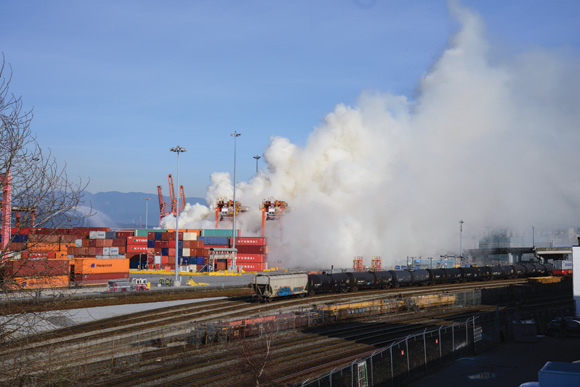 Burning trichloroisocyanuric acid released clouds of chlorine gas and nitrogen trichloride that swept into East Vancouver and the neighbouring municipalities of Burnaby and Coquitlam.