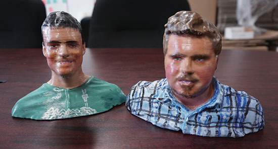 (L-R) Structur3D Printing co-founders Charles Mire and Andrew Finkle created 3D busts using their own technology and readily available materials such as silicon.