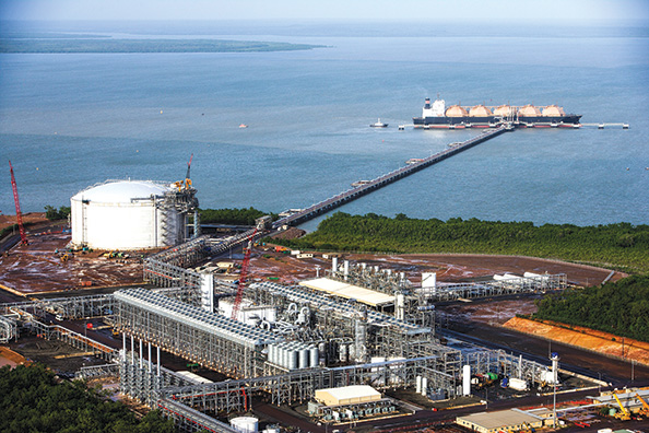 At an LNG terminal, the liquefaction plant chills natural gas to -162 C, creating a liquid 600 times smaller by volume than the same amount of gas.