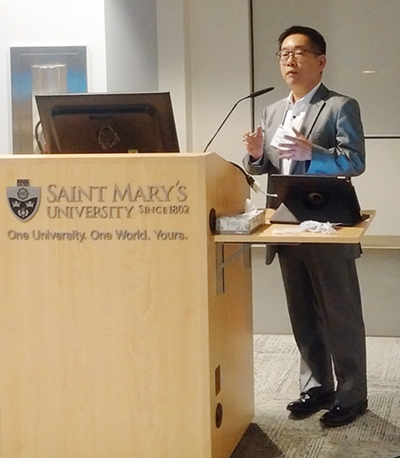 Hermes Chan speaks at the Evening with Industry event in Halifax.