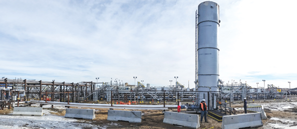 A high-efficiency incinerator at Cenovus Energy's terminal near Edmonton destroys all noxious hydrocarbon emissions as tank cars are loaded with crude oil.