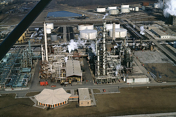 Aerial view of the petrochemical plant at the Imperial Oil refinery in 1964.