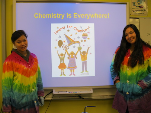 "Lee (left) and Andersen (right) about to start a ""Chemistry is Everywhere"" presentation."