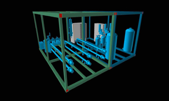 ee dimensional imagery of a catalyst manufacturing unit that is being used in a pilot project in the Aguacate oil field near the Mexican city of Poza Rica.