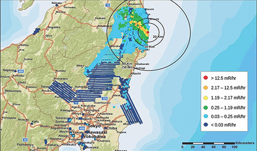A map showing the spread of radiation after the 2011 Fukushima Daiichi nuclear reactor accident.