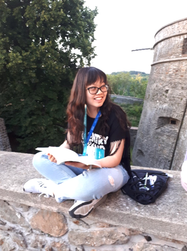 Judy Xia at a medieval castle near Bratislava