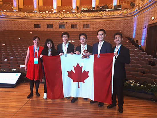 The Canadian 2018 IChO team with Copper Head, the mascot for the competition
