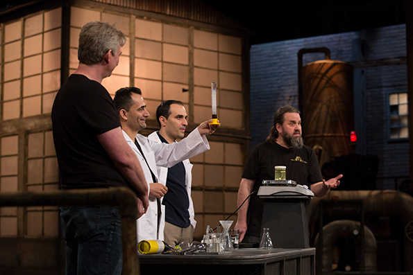 Excir Works CEO Graham Fritz, Founder Loghman Moradi, Chief Technology Officer Hiwa Salimi, and Stephen Foley worked some fundraising alchemy on CBC's Dragon's Den