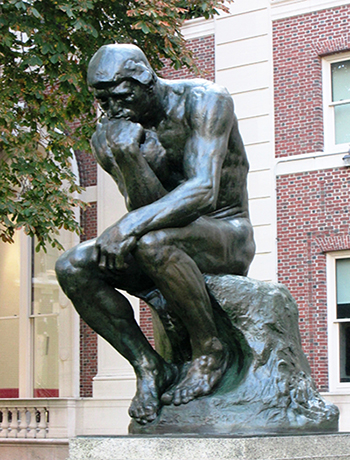 Auguste Rodin's The Thinker (Le Penseur) on Columbia University's Morningside Heights campus