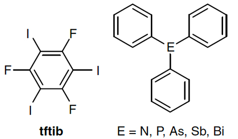 chematic view of the halogen bond donor 1,3,5-trifluoro-2,4,6-triiodobenzene (tftib) and the acceptors NPh3, PPh3, AsPh3, SbPh3, and BiPh3.