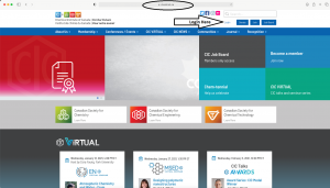 Image of the CIC website home page. Black arrow points to the login button.