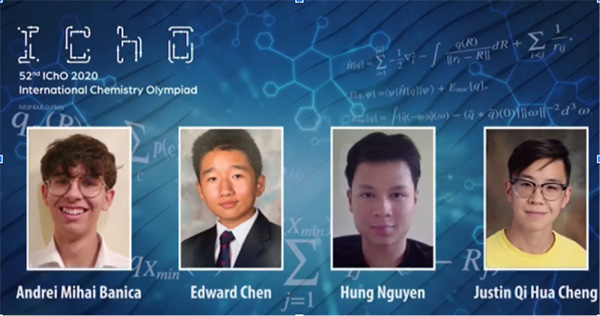 Four students went on to participate at the International Chemistry Olympiad: Andrei Mihai Banica, Edward Chen, Hung Nguyen, Justin Qi Hua Cheng.